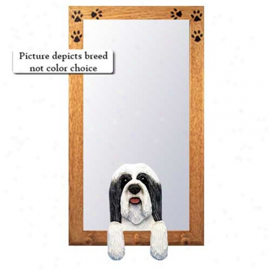 Blue And White Bearded Collie Hall Mirror With Basswood Walnut Frame