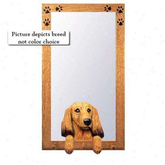 Blue Dapple Longhair Dachshund Hall Mirror With Oak Golden Frame