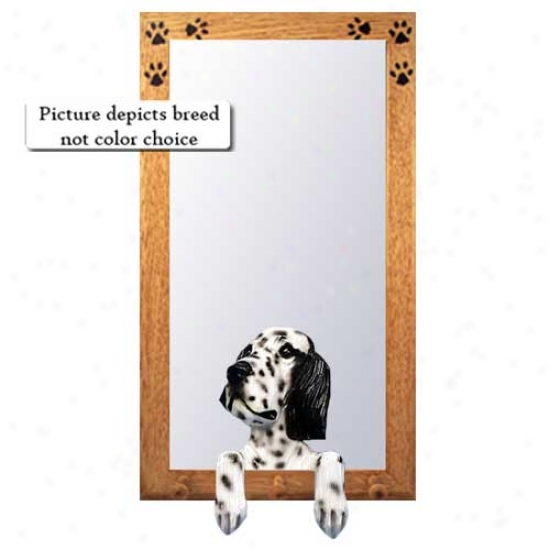 Blue English Setter Hall Mirror With Oak Natural Frame