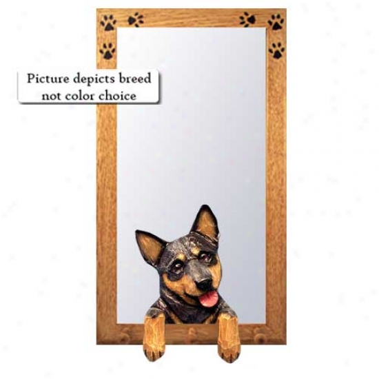 Blue Merle Australian Cattle Dog Hall Mirror With Basswood Walnut Frame