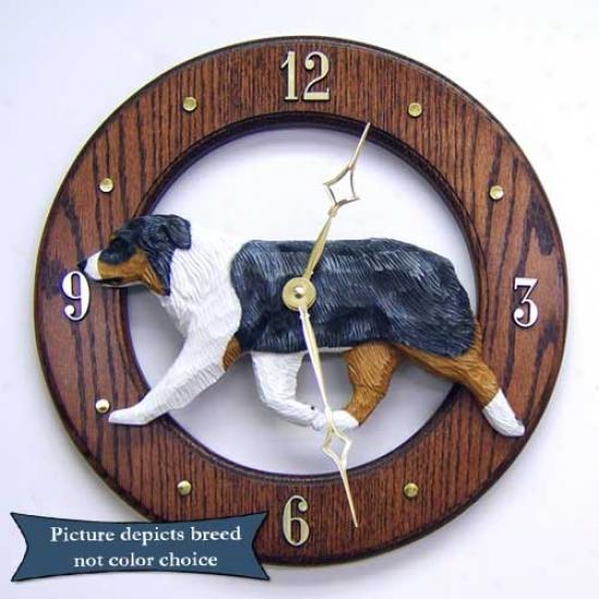 Blue Merle Australian Pastor Wall Clock In Light Oak By Michael Park
