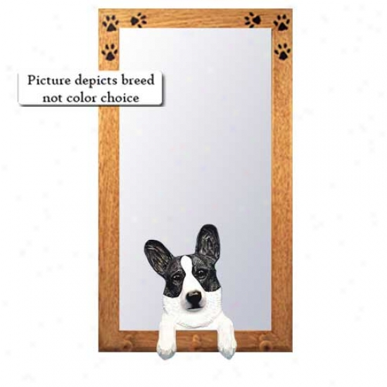 Blue Merle Cardigan Welsh Corgi Hall Mirror With Oak Natural Frame