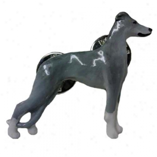 Blue Whippet Hand Painted Pin