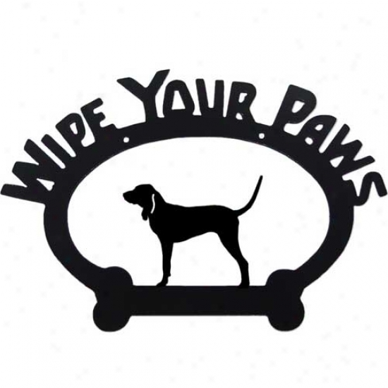 Bluetick Coonhound Wipe Your Paws Decorative Sign