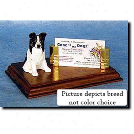 Border Collie (black) Business Card Holder