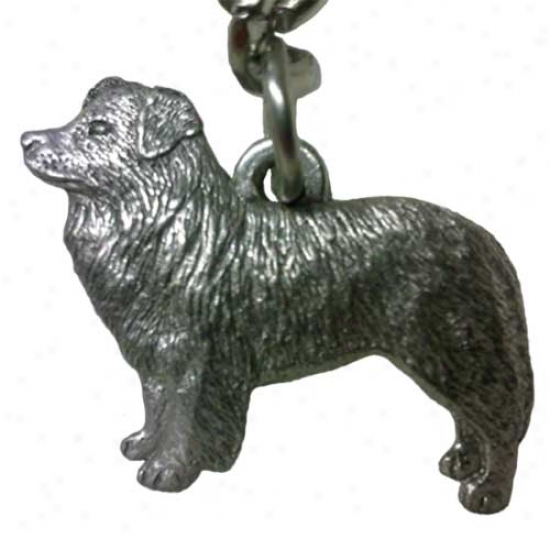 Border Collie George Harris Pewter Keychain