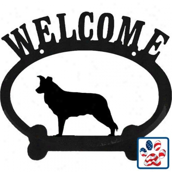 Border Collie Metal Greeting Sign