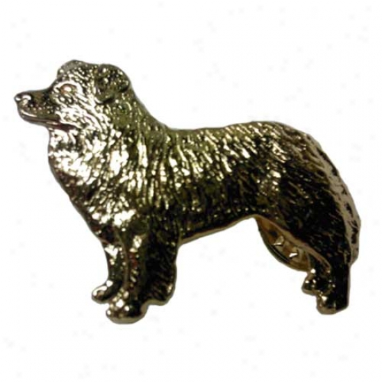Border Collie Pin 24k Gold Plated