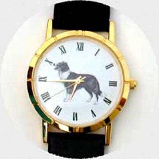 Border Collie Watch - Large Face, Black Leather