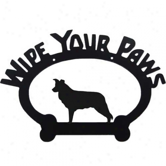 Border Collie Wipe Your Paws Decorative Sign