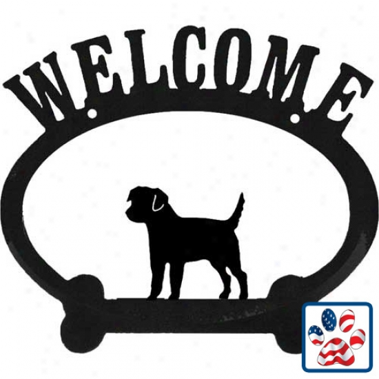 Border Terrier Metal Welcome Sign