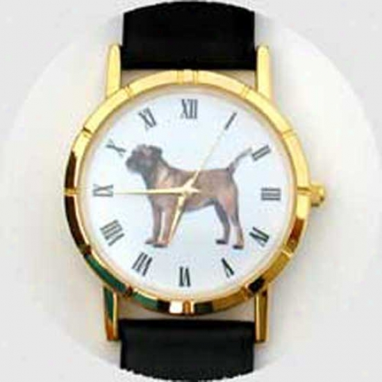 Border Terrier Watch - Large Face, Blqck Leather