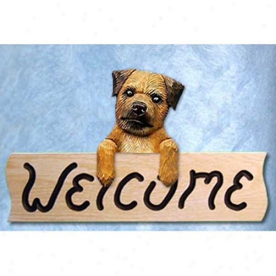 Border Tserier Wheaten Welcome Sign Oak