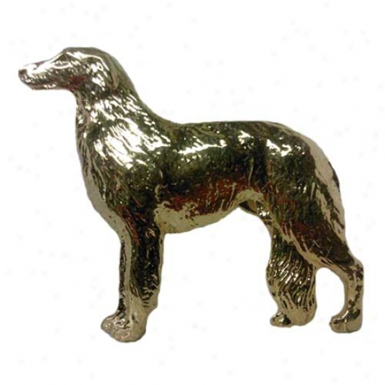 Borzoi Pin 24k Gold Plated