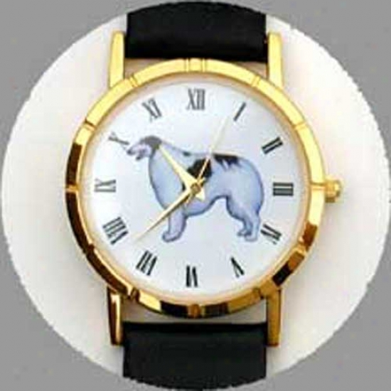 Borzoi Watch - Small Face, Black Leather