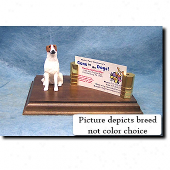 Borzoi (white) Business Card Holder
