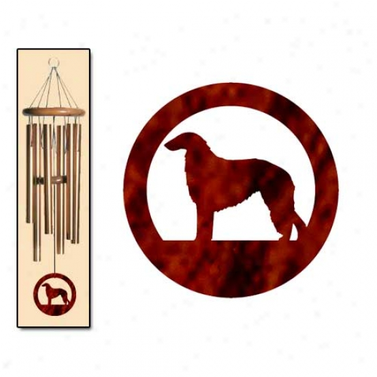Borzoi Wind Chimes Medium Bronze