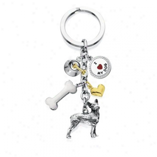 Boston Terrier - I Love My Dog Keychain