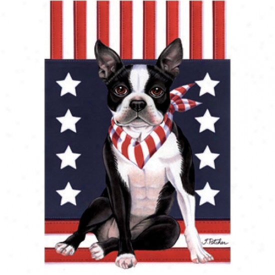 Boston Terrier Patriotic Breed Garden Flag
