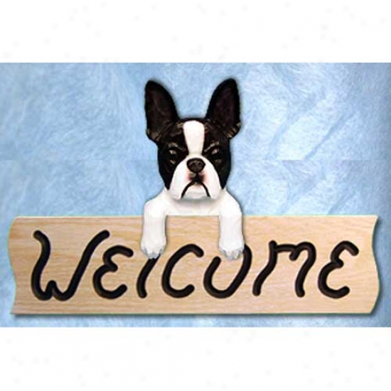 Boston Terrier Welcome Sign Maple