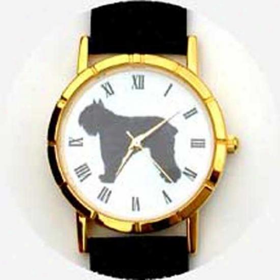 Bouviers Des Flandres Watch - Large Face, Black Leather