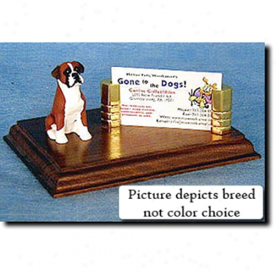 Boxer (fawn) Business Card Holder - Natural