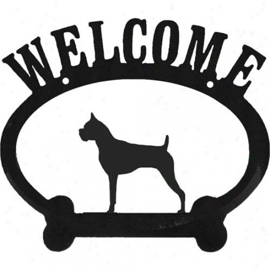 Boxer Metal Welcome Sign Cropped Ears