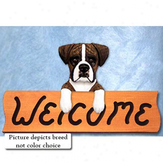 Boxer Natural Fawn Welcome Sign Maple
