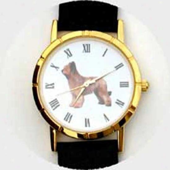 Briard Watch - Small Face, Black Leathsr