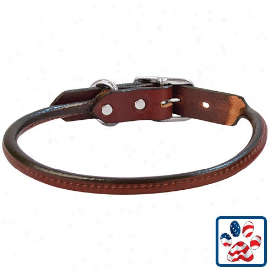 "Briarwood Rolled Leather Dog Collar By Weaver Leather 1""w X 23""l"