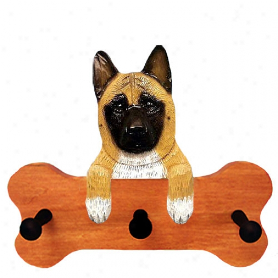 Brindle Akita Bone Hang Up Maple Finish