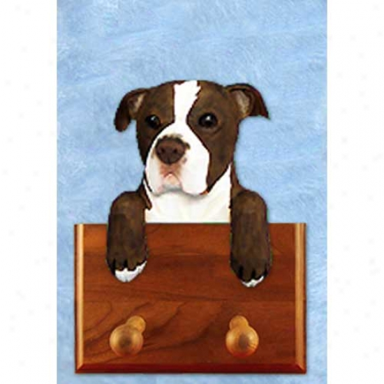 Brindle And White Natural American Staffordshire Terrier Leash Holder