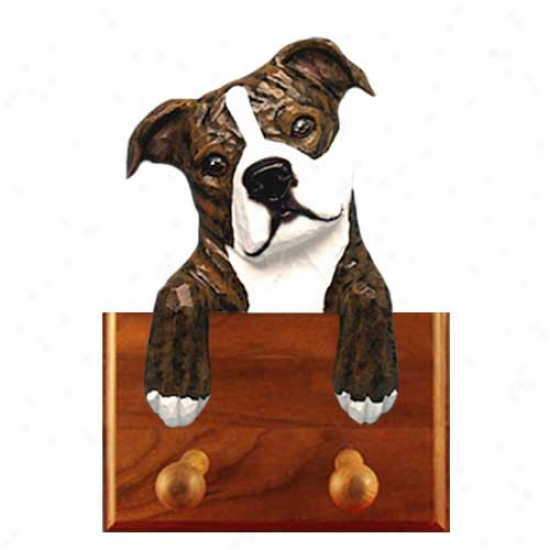 Brindle And White Staffordshire Bull Terrier Leash Holder