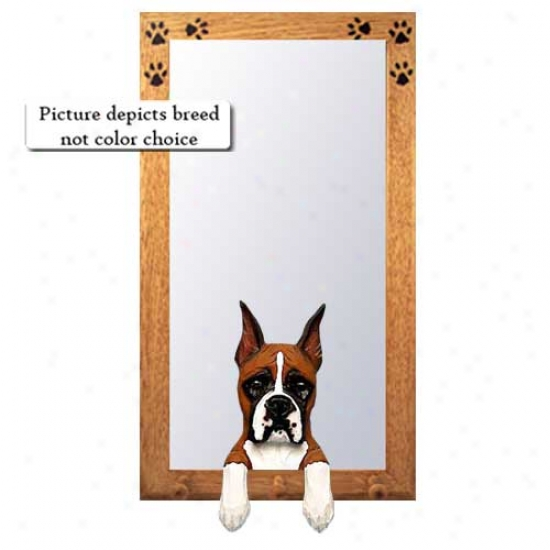 Brindle Boxer Hall Mirror With Oak Golden Frame