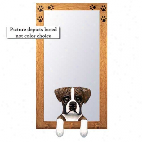 Brindle Boxer Hall Mirror With Oak Natural Frame Natural