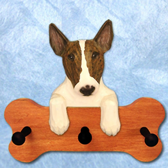 Brindle Bull Terrier Bone Hang Up Maple Finish