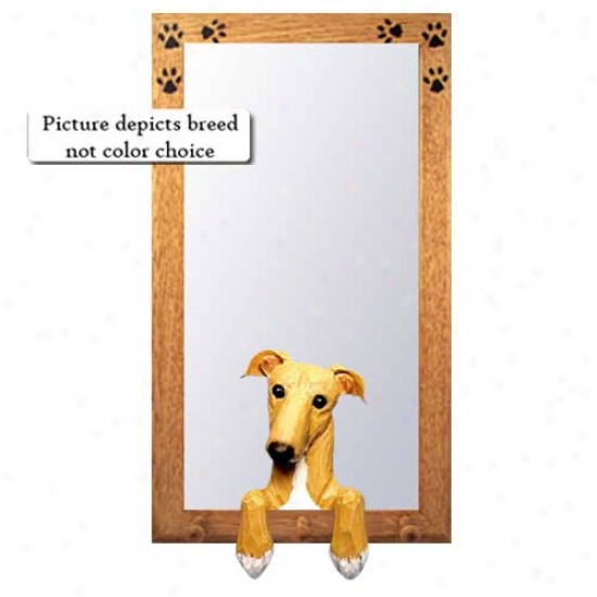 Brindle Greyhound Hall Mirror With Basswood Pine Frame