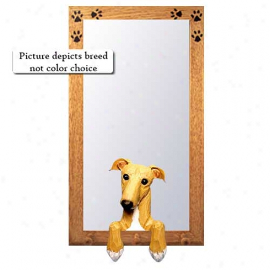 Brindle Greyhound Hall Mirror With Oak Natural Frame