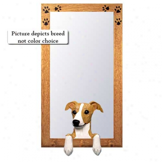 Brindle Italian Greyhound Hall Mirror With Oak Golden Frame