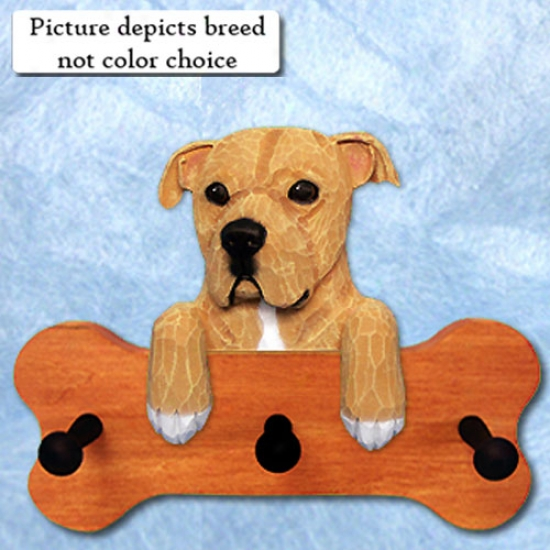 Brindle Natural American Staffordshire Terrier Bone Hang Up Maple Finish