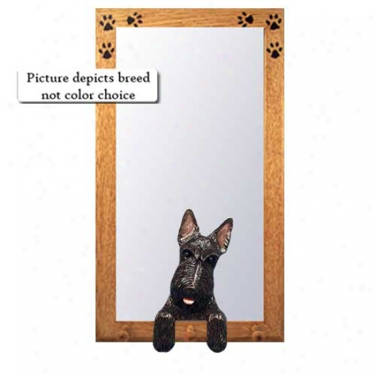 Brindle Scottish Terrier Hall Miirror With Basswood Walnut Frame