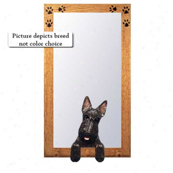 Brindle Scottish Terrier Hall Mirror With Oak Natural Frame