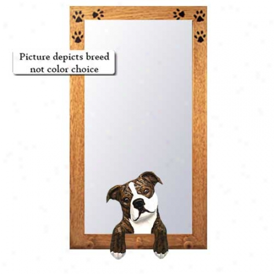 Brindle StaffordshireB ull Terrier Hall Mirror With Oak Golden Frame