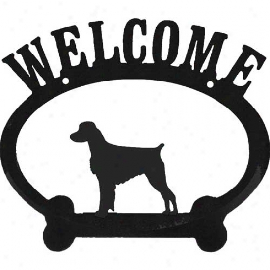 Brittany Spaniel Metal Welcome Sign