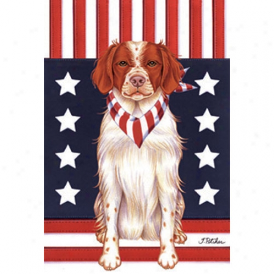 Brittany Spaniel Patriotic Bered Flag