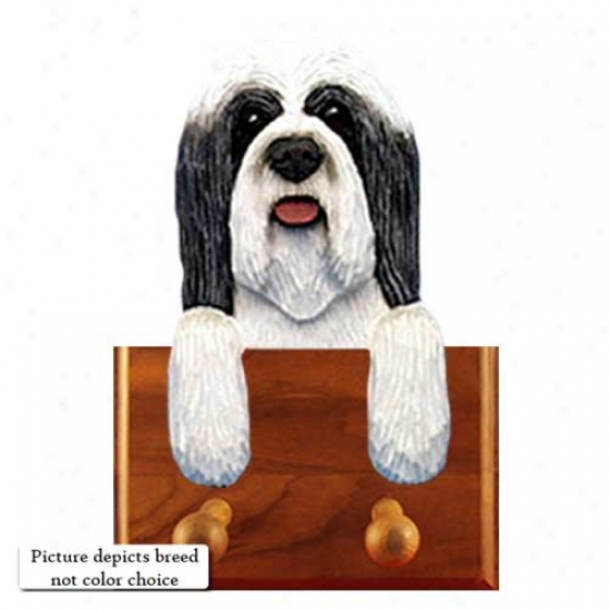 Brown And White Bearded Collie Leash Holder