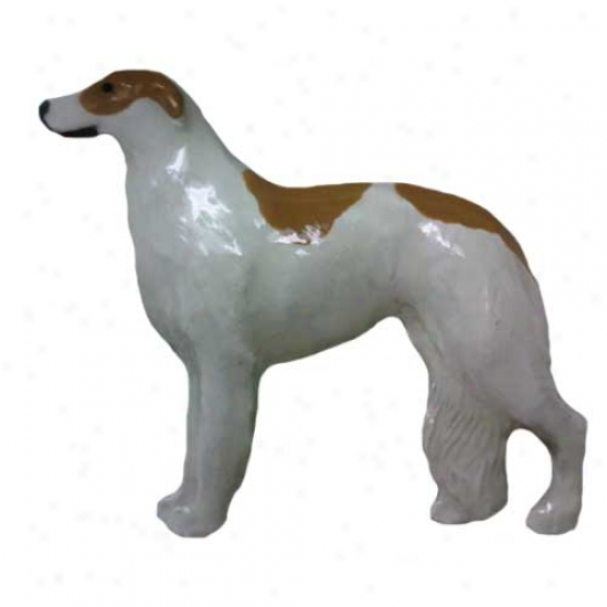 Brown And White Borzoi Laborer Painted Pin