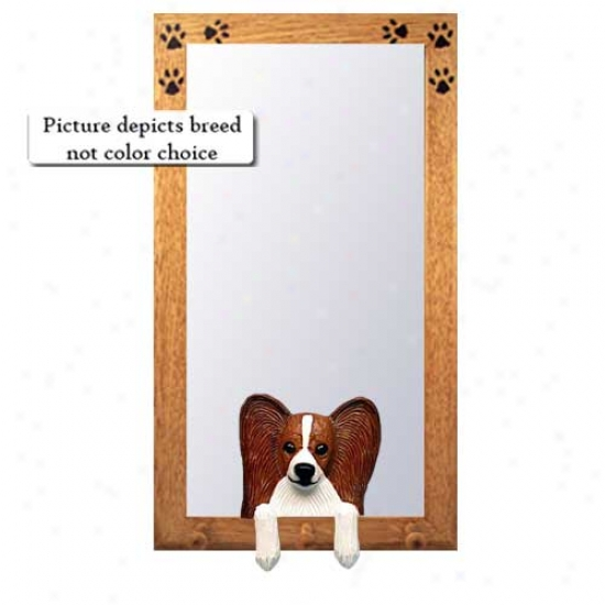 Brown And White Ppaillon Hall Mirror With Oak Golden Frame