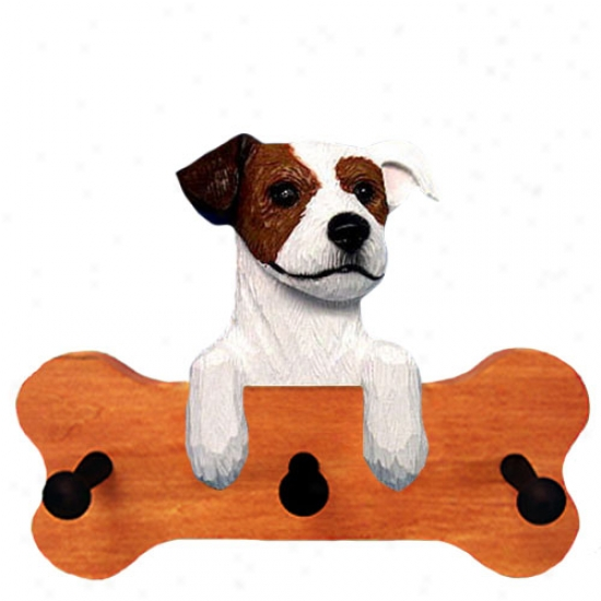 Brown And White Rough Parson Russell Terrier Bone Hang Up Mapl Finish