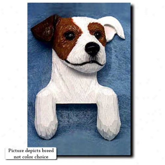 Brown And White Rough Parish priest Russell Terrier Door Topper